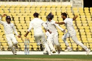 Vidarbha bowler Aditya Sarvate celebrates after taking wicket of Saurashtra batsman Cheteshwar Pujara.