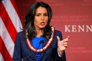 File photo of Tulsi Gabbard speaking after being awarded a Frontier Award during a ceremony at the Kennedy School of Government at Harvard University in Cambridge, Massachusetts.