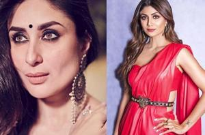 Kareena Kapoor wearing a saree by fashion designer Masaba Gupta, and, Shilpa Shetty in a custom faux leather saree by Nidhi Malhan paired with an embellished Aldo belt. (Instagram)