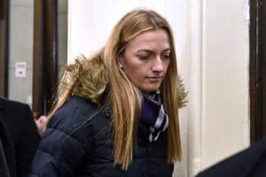 Czech tennis player Petra Kvitova leaves the Regional Court in Brno after giving a testimony during a trial with a man who is suspected of attacking her, on Tuesday.