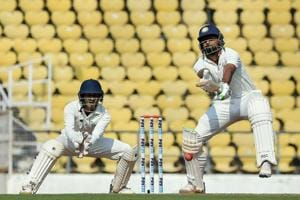 Saurashtra captain Jaydev Unadkat plays a shot on Day 3 of the Ranji Trophy final.