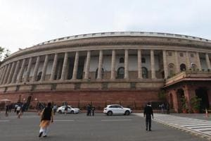 A view of Parliament House building in New Delhi.