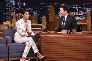 Priyanka Chopra with Jimmy Fallon on his show.