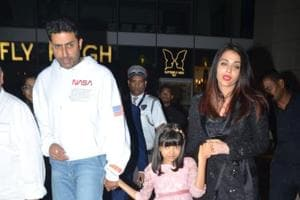 Abhishek Bachchan spotted with Aishwarya and Aaradhya in Mumbai on Tuesday.