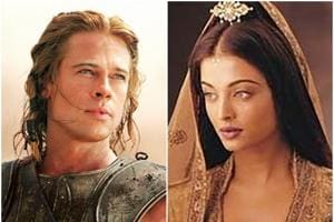 Brad Pitt in a still from Troy and Aishwarya Rai in a still from Journey Across India.