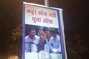 Posters showing Priyanka Gandhi Vadra with Robert Vadra and Rahul Gandhi have sprung up outside the Congress headquarters in New Delhi.