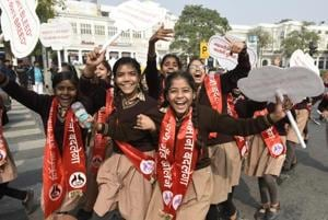 Students during 'Pad Yatra', a march organised by an NGO and the Delhi government, to spread awareness about menstruation, Feb 5, 2019.
