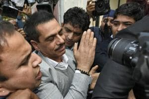 Robert Vadra arrives at Enforcement Directorate office for questioning after the agency summoned him in a money laundering case, in New Delhi, India, on Wednesday, February 6, 2019. (Photo by Burhaan Kinu/ Hindustan Times)
