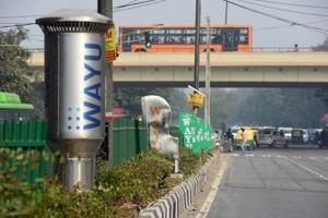 An air pollution control device WAYU  at Bhikaji Cama Place, in New Delhi.