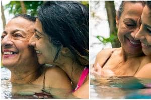 Tanishaa Mukerji and her mother Tanuja enjoy time together in a swimming pool.
