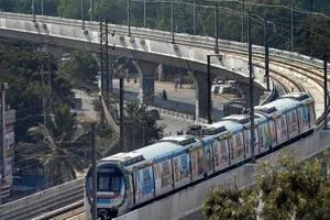 A metro train runs on its tracks after the inauguration of Hyderabad Metro Rail project in Hyderabad on Tuesday.  Image for representation.