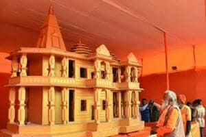Gandhi would have been appalled by the hatred spread in the name of Ram in the 1980s and 1990s. Do we want a rerun of those years now? (A model for a Ram temple at the Kumbh Mela, 2019