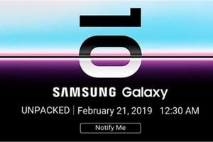 Samsung galaxy S10 teaser on Flipkart.