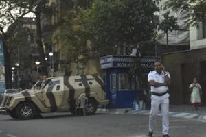Security arrangement outside the house of Trinamool Congress leader Abhishek Banerjee in Kolkata.
