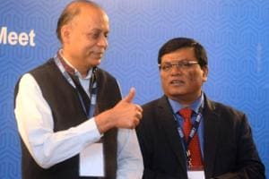 From Left: Ajay Kumar,Secretary of Defense production, and Milind Kamble during business development meet oraganised by DICCI in Pune