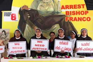 Protesting nuns accuse Bishop Mulakkal of interfering in Jalandhar diocese functioning. (Photo by Vivek Nair / Hindustan Times)