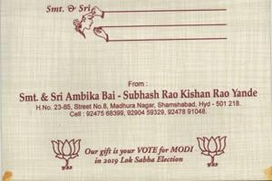 The wedding card with an unusual request to vote for Prime Minister Narendra Modi in the 2019 Lok Sabha elections.