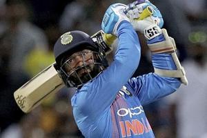 Dinesh Karthik bats during their T20 international against New Zealand.