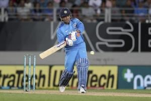 MS Dhoni plays a shot during the T20I against New Zealand at Eden Park in Auckland.
