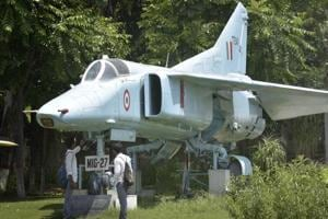 Fighter planes MIG 27 displayed at Maharaja Ranjit Singh War Museum Ludhiana on Thursday, August 17, 2017.