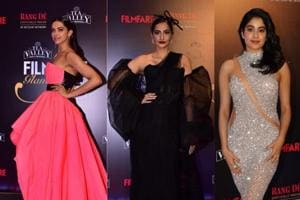Deepika Padukone, Sonam Kapoor and Janhvi Kapoor at an awards event.