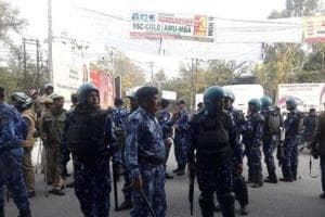 Rapid Action Force deployed at AMU circle in Aligarh on Tuesday.