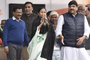 West Bengal chief minister Mamata Banerjee at 'Tanashahi Hatao, Desh Bachao' (Remove Dictatorship, Save Country) rally in Delhi on Wednesday.