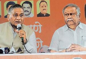 (From left) VK Singh, Union minister of state for external affairs, and Yogesh Gogawale, city BJP chief, at a presser.