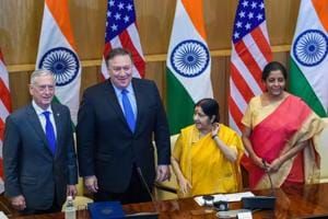 External affairs minister Sushma Swaraj, defence minister Nirmala Sitharaman, US Secretary of State Mike Pompeo and US secretary of defence James Mattis at a joint press conference after the India-US 2 + 2 Dialogue, in New Delhi on September 6, 2018.