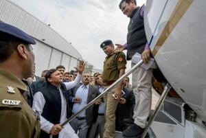 Samajwadi Party President Akhilesh Yadav was stopped by the district administration officials to board a flight for Prayagraj, at Ch. Charan Singh Airport in Lucknow, Tuesday, Feb 12, 2019.