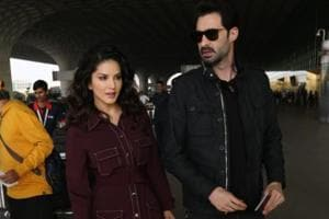 Sunny Leone spotted at the airport with her husband Daniel Weber.