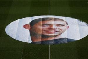 General view of a tribute inside the stadium in memory of Emiliano Sala
