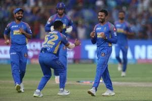 Shreyas Gopal of the Rajasthan Royals celebrates after taking the wicket of Mandeep Singh of the Royal Challengers Bangalore during match fifty three of the Vivo Indian Premier League 2018 (IPL 2018) between the Rajasthan Royals and the Royal Challengers Bangalore held at the The Sawai Mansingh Stadium in Jaipur on the 19th May 2018. Photo by: Deepak Malik /SPORTZPICS for BCCI