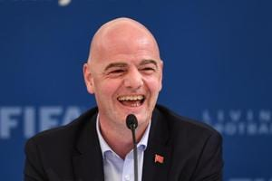 FIFA President Gianni Infantino speaks during a press conference at the FIFA Executive Football Summit on February 15.
