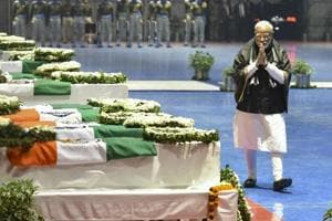 New Delhi: Prime Minister Narendra Modi pays tribute to the martyred CRPF jawans, who lost their lives in Thursday