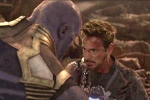 Iron Man and Thanos fight on Titan.