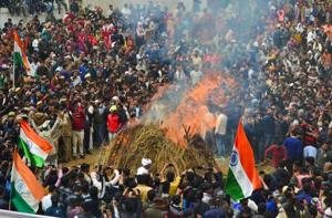A large gathering  on Saturday in Agra at the cremation of CRPF Jawan Kaushal Kumar Rawat who was killed in the Pulwama terror attack on Thursday.
