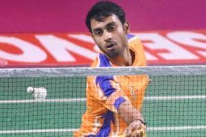 Sourabh Verma returns a shot during his singles match.