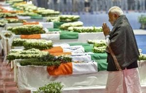 Prime Minister Narendra Modi pays tribute to the martyred CRPF jawans, who lost their lives in Thursday