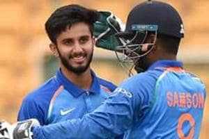 Mayank Markande celebrates the wicket of Sarel Erwee of South Africa A.