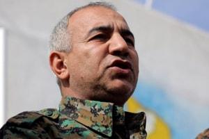 Jiya Furat, commander of the assault on the last jihadist enclave in eastern Syria, talks during a press conference near Baghouz, Deir Al Zor province, Syria February 16, 2019.