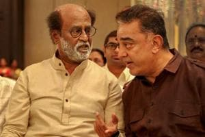 Makkal Needhi Maiam (MNM) chief Kamal Haasan and actor-turned-politician Rajinikanth during the wedding ceremony of the latter