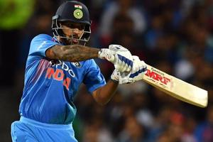Shikhar Dhawan bats during a T20 international cricket match against Australia at the SCG in Sydney.
