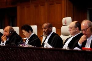 Judges are seen at the International Court of Justice during the final hearing in the Kulbhushan Jadhav case in The Hague, the Netherlands, February 18, 2019.