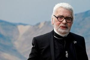 FILE PHOTO: German designer Karl Lagerfeld appears at the end of his Spring/Summer 2019 women