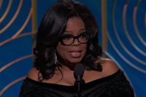 Oprah Winfrey speaks on the stage after being commemorated the Cecil B. DeMille Award at Golden Globes 2018.