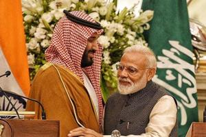 Prime Minister Narendra Modi with Saudi Crown Prince Mohammed bin Salman during the joint press conference in New Delhi.