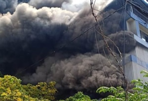 The fire at the Paragon Footwear building was first reported around 9.30 a.m.