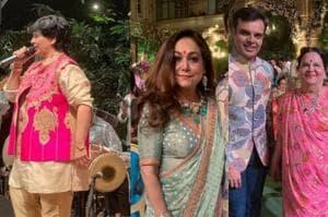 Falguni Pathak, Tina Ambani, Tushar Trivedi and Kokilaben Ambani at Akash Ambani's pre-wedding event.