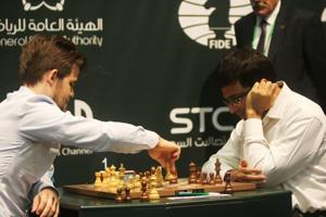 File picture of Anand, Carlsen
